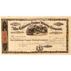 Alta California Copper Mining Co. Stock Certificate  #101494