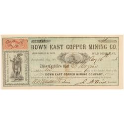 Down East Copper Mining Company Stock Certificate  #100852