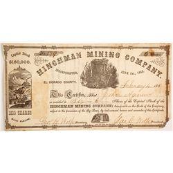 Hinchman Mining Company Stock  #90476