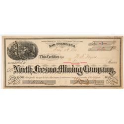 North Fresno Mining Company Stock Certificate -- Number 1  #107017
