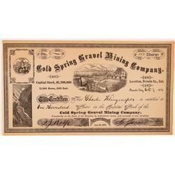Cold Spring Gravel Mining Company Stock Certificate  #107716