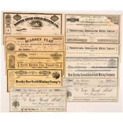 Grass Valley Mining Stock Certificate Collection  #104366
