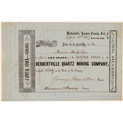 Herbertville Quartz Mining Company Stock Certificate  #107711