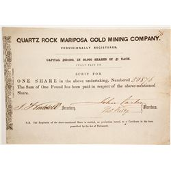 Quartz Rock Mariposa Gold Mining Company Stock  #86039