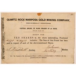 Quartz Rock Mariposa Gold Mining Company Stock Certificate  #107288