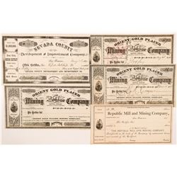 Sierra & Nevada County Mining Stock Certificates  #104365