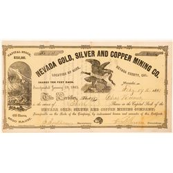Nevada Gold, Silver and Copper Mining Co. Stock Certificate  #100764