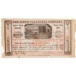 South Fork Canal Company Stock Certificate, California Gold Rush  #107097