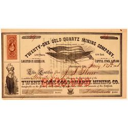 Twenty-One Gold Quartz Mining Company Stock Certificate  #107723