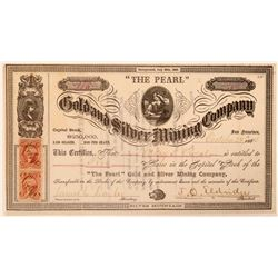 """The Pearl"" Gold & Silver Mining Co. Stock Certificate  #107722"
