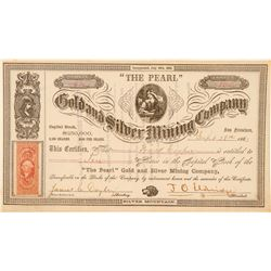 """The Pearl"" Gold & Silver Mining Co. Stock Certificate, Silver Mountain, 1863  #100987"