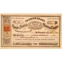 Granite State Gold & Silver Mining Co. Stock Certificate  #107728