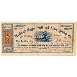 Woodstock Copper, Gold & Silver Mining Co. Stock Certificate  #101498