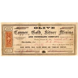 Olive Copper, Gold, Silver Mining & Tunneling Co. Stock Certificate  #101497