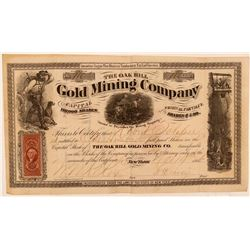Oak Hill Gold Mining Company Stock Certificate  #107709