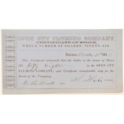 Open Cut Fluming Company Stock Certificate  #107031