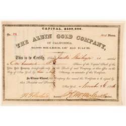 Albin Gold Company of California Stock Certificate  #100830