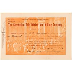 Coronation Gold Mining & Milling Co. Stock Certificate  #91635