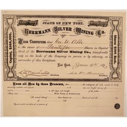 Herrmann Silver Mining Company Stock Certificate  #107712