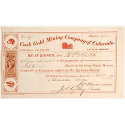 Cook Gold Mining Company of Colorado Stock  #79742