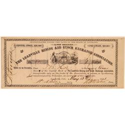 Leadville Mining & Stock Exchange Assoc. Stock Signed by Tabor  #107691