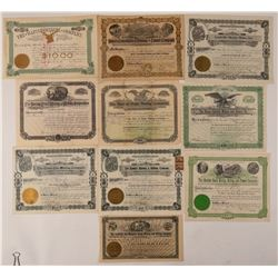 Ten Different Leadville Mining Stock Certificates  #107689