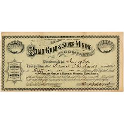 Solid Gold & Silver Mining Co. Stock Certificate  #104321