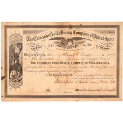 Colorado Gold Mining Co. of Philadelphia Stock Certificate  #107151