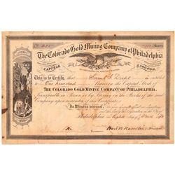 Colorado Gold Mining Co. of Philadelphia Stock Certificate  #107151