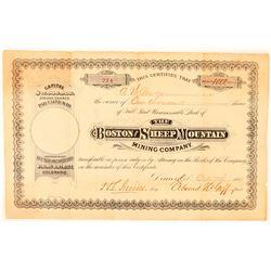 Boston & Sheep Mountain Mining Company Stock Certificate  #91564