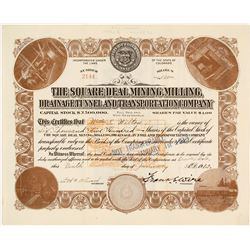 The Square Deal Mining, Milling, Drainage Tunnel & Transportation Co. Stock Certificate, 1912  #5857