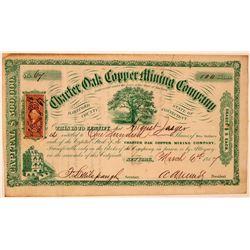 Charter Oak Copper Mining Company Stock Certificate  #107752