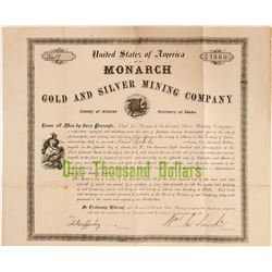 Monarch Gold & Silver Mining Company Bond  #100954