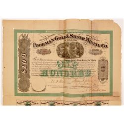 Poorman Gold & Silver Mining Company Bond  #107078