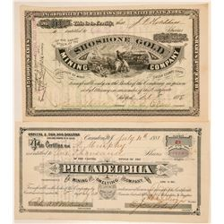 Two Different Idaho Mining Stock Certificates  #101569
