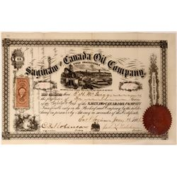 Saginaw & Canada Oil Co. Stock Certificate, 1866  #110208