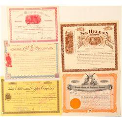 5 Montana stock certificates  #100418