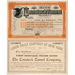 Three Different Comstock Tunnel Company Stock Certificates  #107238