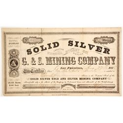 Solid Silver G. & S. Mining Company Stock  #88130