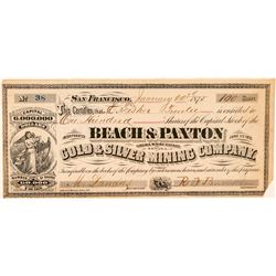 Beach & Paxton Gold & Silver Mining Co. Stock (GT Brown Lith.)  #100919