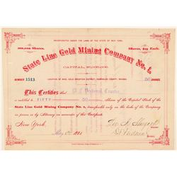 State Line Gold Mining Co. No. 1 Stock Certificate  #91865