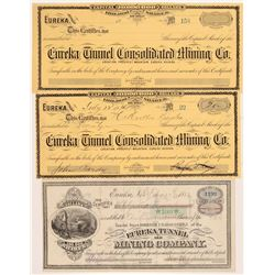 Eureka Mining & Tunnel Stock Certificates  #107016