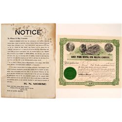 Gold Park Mining & Milling Co. Broadside & Stock Certificate  #58478