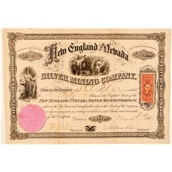 New England & Nevada Silver Mining Co. Stock Certificate  #91857