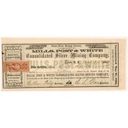 Mills, Post & White Consolidated Silver Mining Co. Stock Certificate  #107101