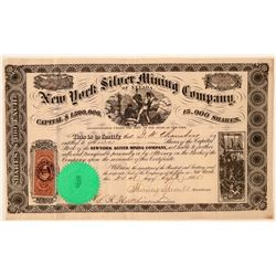 New York Silver Mining Company of Nevada Stock Certificate  #107750