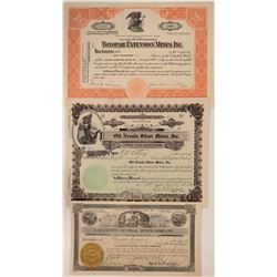 Three  Nevada  Mining Stocks,  All Certificates #1  #110318