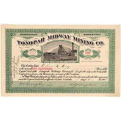 Tonopah Midway Mining Co. Stock, 1906, Brougher, Douglass Signatures  #110324