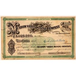 Meadow Valley Mining Company Stock Certificate  #107742