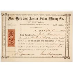 New York and Austin Silver Mining Company Stock  #80356